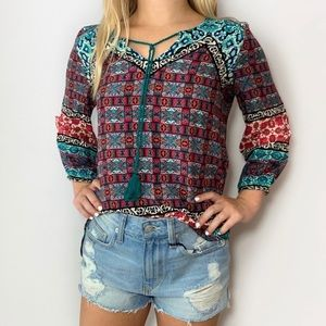 Boho Peasant Tunic Top 3/4 Sleeves Red Camel